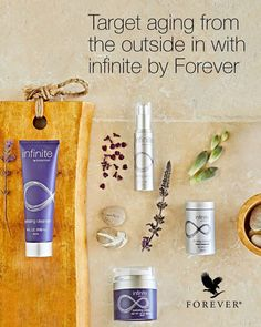 infinite by Forever™ hydrating cleanser og infinite by Forever™ firming serum og infinite by Forever™ restoring crème og infinite by Forever™ collagen complex Anti Aging Skin Care, Good Skin, Aloe Vera, Collagen, Infinite, Cleanser, Serum, Pure Products, Photo And Video