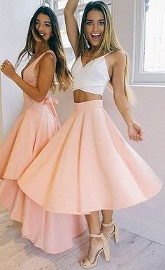 White Crop + Peach Skirt                                                                             Source