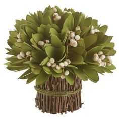 Handcrafted as a lush bouquet of carved wood foliage, off-white berries (dried beans, actually) and poplar stems, this is our versatile, multiseasonal offering for your tabletop, be it a dining, side, console or dressing table. Lush, symmetrical and texturally arresting, this Pier 1 exclusive is perfect for any indoor or covered outdoor setting.