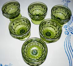 Set of 6 Vintage Indiana Glass Avocado Green Whitehall Cubist Footed Sherbets