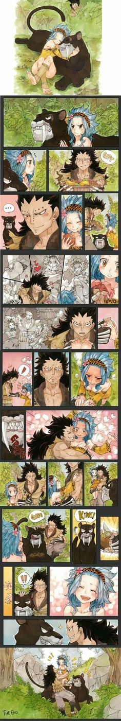 Fairy Tail.   Gajeel, Levy, and Pantherlily