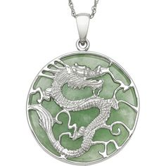 Genuine Jade Dragon Sterling Silver Pendant Necklace ($100) ❤ liked on Polyvore featuring jewelry, necklaces, jade pendant, long pendant necklaces, sterling silver pendants, long necklaces and green pendant necklace