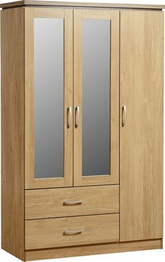 Seconique Charles 3 Door 2 Drawer Mirrored Wardrobe - Oak Effect with Walnut Trim - Prima Furniture Buy Wardrobe, 4 Door Wardrobe, Mirrored Wardrobe, Modern Wardrobe, Wardrobe Design, Wardrobe Drawers, Bedroom Wardrobe, Oak Bedroom Furniture Sets, Furniture Direct