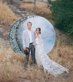 Wow! Gorgeous cork moon backdrop at this wedding! #rentmyphotobooth Photo via #greenweddingshoes