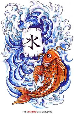 Koi tattoo design with waves and kanji - Also meaning of Koi Fish Tattoo