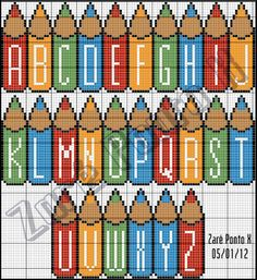 colored pencil alphabet~this would be so cute for a babies room with his/her name! Cross Stitch Letters, Cross Stitch Baby, Cross Stitch Charts, Cross Stitch Designs, Stitch Patterns, Cross Stitching, Cross Stitch Embroidery, Baby Motiv, Plastic Canvas Letters