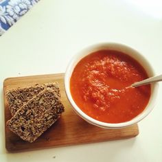 Homemade#roasted tomato and pepper soup#freshly baked#seed bread