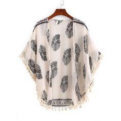 Tassel Trimmed Tribal Print Kimono (€11) ❤ liked on Polyvore featuring intimates, robes, jackets, apricot, chiffon robe, chiffon kimono, patterned robes, kimono robe and tassel kimono