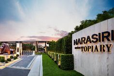 """Narasiri Topiary - Reflecting a style beyond excellence, Narasiri Topiary offers an exquisite uniqueness through its architectural design using geometric shapes and forms to render poshness of the we (Entrance Step Design) Pylon Signage, Entrance Signage, Entrance Lighting, Outdoor Signage, Exterior Signage, Entrance Gates, Grand Entrance, Front Gate Design, Entrance Design"