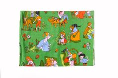"""Vintage Gardinen - 70er Kindervorhang """"Es war einmal..."""" Dekoplus - ein Designerstück von VintageGoods bei DaWanda"""