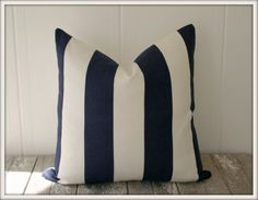 Vertical Stripe White/Navy Blue Pillow Cover / 20x20 / Premier Prints. $35.00, via Etsy.