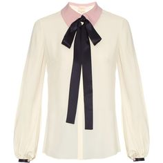Roksanda Kellaway neck-tie crepe blouse featuring polyvore women's fashion clothing tops blouses white necktie blouse white tie neck blouse white blouse relaxed fit tops neck-tie