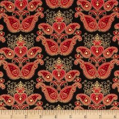 Sweet Heart Metallics Paisley Medallion Red from @fabricdotcom  Designed by Peggy Toole for Robert Kaufman Fabrics, this cotton print fabric is perfect for quilting, apparel and home decor accents. Colors include shades of red and black with metallic gold accents.
