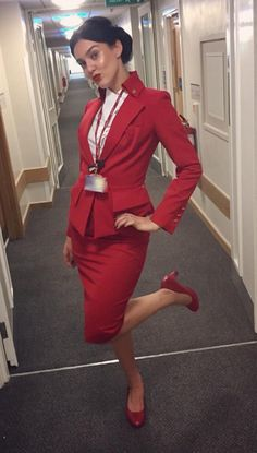 Qatar Airways Cabin Crew, Flight Attendant Hot, Virgin Atlantic, Airline Flights, Nylons Heels, These Girls, Peplum Dress, Aviation, Glamour