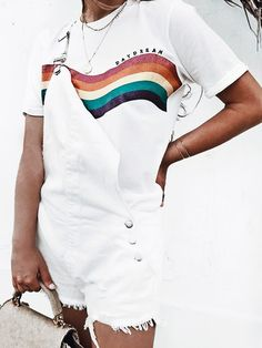 casual summer look // all white short overalls and a graphic tee // laidback vibe