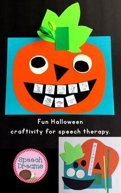 Halloween Pumpkin Speech Therapy Articulation Craft {fun paper Jack-o'-lantern}