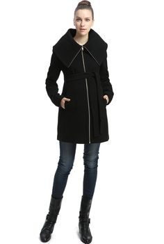 "Momo Maternity ""Ava"" Wool Blend Fold Collar Zip Up Coat at Amazon Women's…"