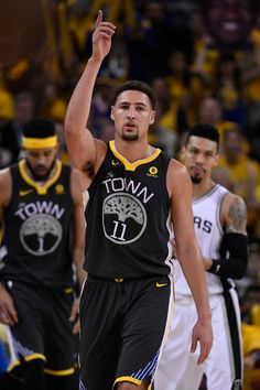 Golden State Warriors' Klay Thompson (11) gestures while playing the San Antonio Spurs during the fourth quarter of Game 2 of their NBA first-round playoff series at Oracle Arena in Oakland, Calif., on Monday, April 16, 2018. The Golden State Warriors defeated the San Antonio Spurs 116-101. (Jose Carlos Fajardo/Bay Area News Group)