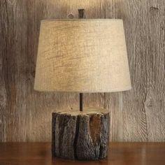 lamp with tree stump base