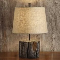 lamp with tree stump base
