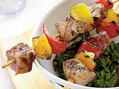 Coming in at under 200 calories per serving, these colorful grilled pork kebabs are perfect for a light weeknight dinner.