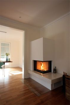 Haus Fireplace kit, corner fireplace, right, Ekko 67 / Kitchen Remodeling For Your Tenants Artic Fireplace Kits, Open Fireplace, Living Room With Fireplace, Fireplace Design, Wood Burning Fireplace Inserts, Home Upgrades, Home And Living, Home Furniture, Sweet Home