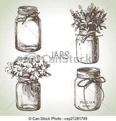 Vector - Rustic, mason and canning jars hand drawn set. Sketch design - stock illustration, royalty free illustrations, stock clip art icon, stock clipart icons, logo, line art, EPS picture, pictures, graphic, graphics, drawing, drawings, vector image, artwork, EPS vector art