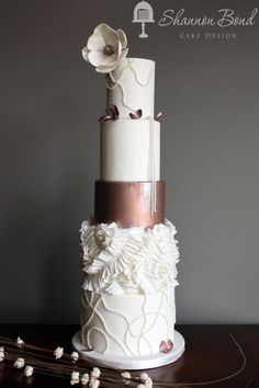 Copper Couture Wedding Cake - Cake by Shannon Bond Cake Design