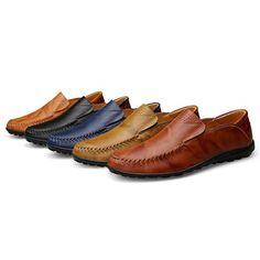 Big Size Men Genuine Leather Comfortable Slip On Business Casual Shoes
