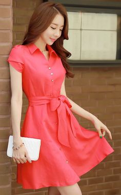 StyleOnme_Collared Ribbon Waist Tie Flared Dress #red #dress #buttons #ribbon #waist #tie #trendy #elegant #pretty #everyday #koreanfashion #spring #summer