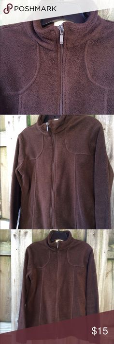 Brown fleece zip up XL EUC Nice rich brown color, worn only two times. Looks great worn alone or layer it with a light top and leave open . No pockets , just a nice clean look XL BUT  I think it's fits more like a large . Measurements if needed 😊 Thanks for visiting! Samantha Stuart Jackets & Coats