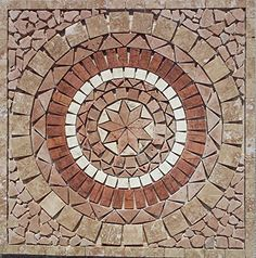 "24"" Tumbled Travertine and Marble Indoor or Outdoor Floor or Wall Art Medallion / Mosaic By: Stone Deals Stone Deals http://www.amazon.com/dp/B012JDIZSY/ref=cm_sw_r_pi_dp_.BcUvb199A5BF"