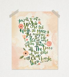 Isaiah Watercolor Typography Bible Verse Printable Print 8 x 10 or 11 x 14 Printable Bible Verses, Bible Verses Quotes, Scriptures, Joy Quotes, Peace Bible Verse, Scripture Art, Watercolor Typography, Watercolor Print, Isaiah 55