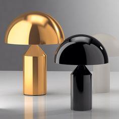 Oluce Atollo table lamp. Designed by Italian industrial designer Vico Magistretti in 1977. via roomonfire - Gold and black nickel