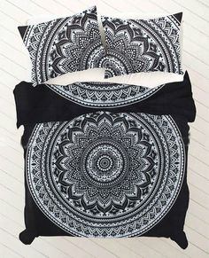 Black and white floral ombre mandala king size bedding and doona cover sets Queen Size Duvet Covers, Comforter Cover, Queen Duvet, Mandala Comforter, Mandala Duvet Cover, Hippie Bedding, Bohemian Bedding, Mandalas Painting, Mandalas Drawing