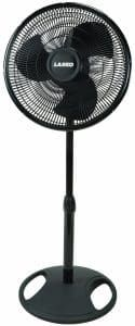 Lasko 2521 Oscillating Stand Fan, Black: ETL listed, patented, fused safety black oscillating pedestal fan perfect for homes or quiet speeds; easy-grip rotary controlbrHeight adjusts up to tall with wide-range oscillationbrEasy no-tools assembly