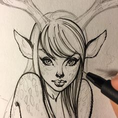 Art girl, sketch, illustration, fawn, fantasy