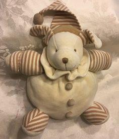 Rare Cleo Puppy Dog Cream Brown Tan Stripes Round Buttons Nightcap Baby Plush  | eBay