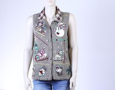 Vintage Christmas Sweater Vest Ugly Sweater Party Ugly Vintage Christmas Sweaters, Vintage Sweaters, Ugly Christmas Sweater, Lace Denim Shorts, Vintage Outfits, Vintage Fashion, Ugly Sweater Party, Collar Shirts, Sweaters For Women