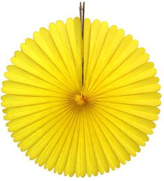 Yellow 13 inch tissue paper fan decorations. Create an easy party backdrop in minutes with these gorgeous double-sided fans. Made in USA by Devra Party. Yellow Party Decorations, Paper Fan Decorations, Party Themes, Christmas Decorations, Themed Parties, Cloud Party, Paper Fans, Backdrops For Parties, Perfect Party