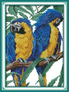 Cross-stitch Loyal Parrot Animal Diy Decor Painting Chinese Cross Stitch Dmc 14ct Counted White Fabric Kits Embroider Needlework Set Living Room Fancy Colours