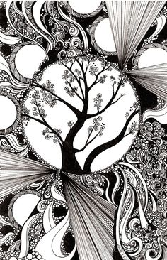 "Creative Doodling: Black and white Abstract with Trees"" by Zentangle Zendoodle Pen & Ink Drawing Tangle Ideas Zen Art Inspiration Zentangle Drawings, Doodles Zentangles, Zentangle Patterns, Art Drawings, Drawing Art, Zentangle Art Ideas, Drawing Ideas, Alphabet Drawing, Easy Zentangle"