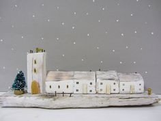 Handmade driftwood cottage sculpture with by Beyondthecowshed