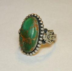 Fred Harvey Era Sterling Turquoise Thunderbird Ring, Size 8