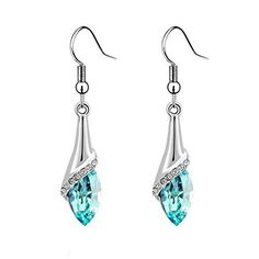 Aokdis (TM) Hot Womens Lady Crystal Marquise Cut Teardrop Wedding Earrings Gift (blue)   JEWELRY FOR WOMENS