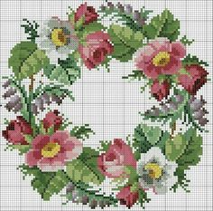 Garland of roses, lilies, forget-me-not and wistaria embroidery design, century Cross Stitch Love, Cross Stitch Flowers, Cross Stitch Charts, Cross Stitch Designs, Cross Stitch Patterns, Ribbon Embroidery, Cross Stitch Embroidery, Embroidery Patterns, Cross Stitching