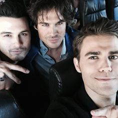 The Vampire Diaries ... Michael Malarkey, Ian Somerhalder and Paul Wesley as Enzo, Damon and Stefan