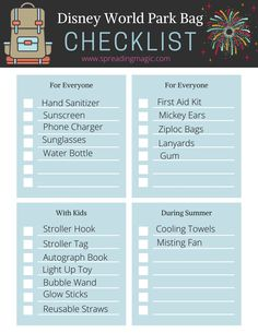 What will you need for a day at Disney World? What kinds of things should you pack for in your Disney World park bag for an enjoyable day? If you've never been to Disney World or maybe it's been a while, you may be unsure what you'd like to carry with you. We have some suggestions as to what we recommend that you pack in your Disney World park bag for a magical day in the parks. #Disney #DisneyWorld #ParkBag #DisneyVacation Disney World Deals, Disney World Facts, Disney Facts, Disney World Resorts, Walt Disney World, Disney Destinations, Disney Vacations, Mini First Aid Kit, Festival Of Fantasy Parade
