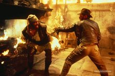 Raiders of the Lost Ark - Publicity still of Harrison Ford & Pat Roach