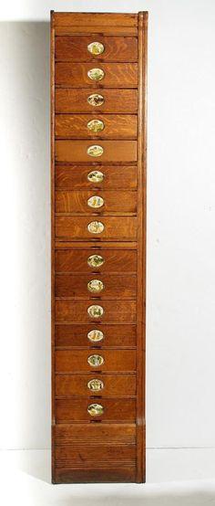 Amberg's Quarter-Sawn Oak Vertical Filing Cabinet : Lot 0205